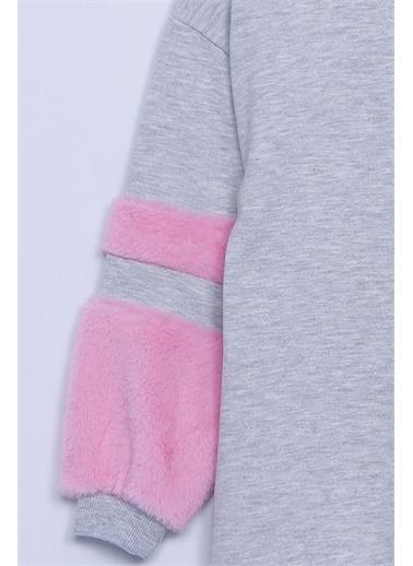 Silversun Kids Örme Elbise Örme Uzun Kollu Peluşlu Elbise Kız Çocuk Ek-313332 Gri